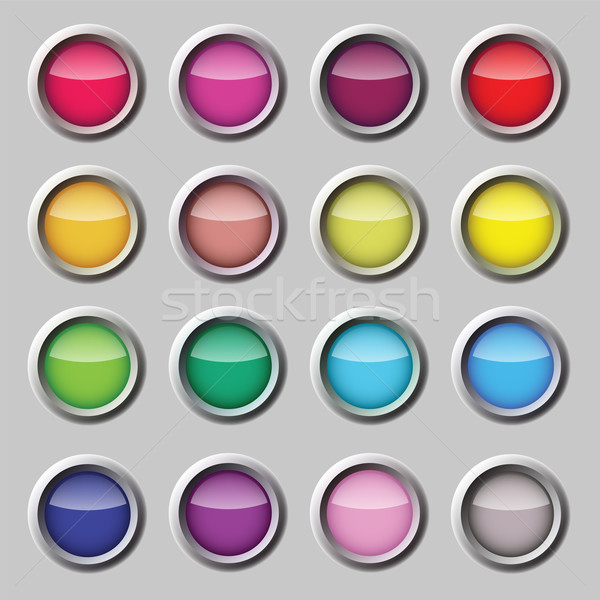 Stock photo: Varicoloured button vector web set