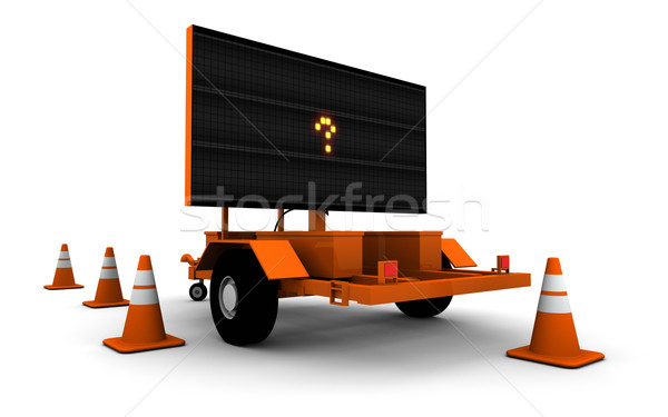 Stock photo: Question Mark on Road Work Sign (Small)