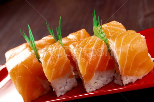 Stock photo: Roll made of salmon