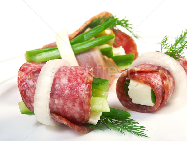 Canape platter with cheese smoked sausage stock photo for Canape platters