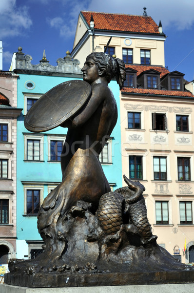 Stock photo: Mermaid statue in Warsaw.