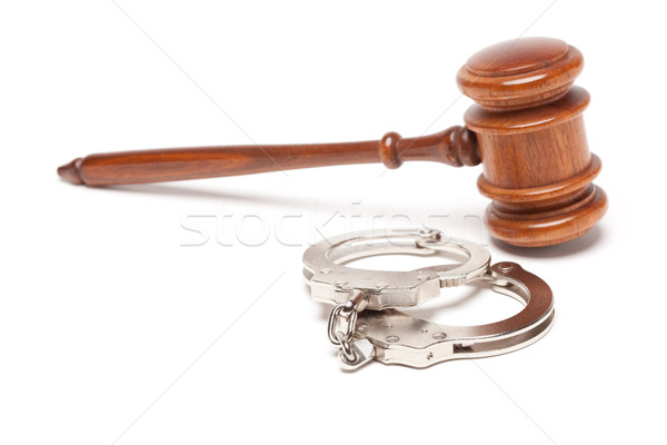 Stock photo: Gavel and Handcuffs on White