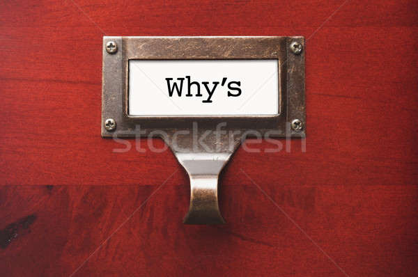Stock photo: Lustrous Wooden Cabinet with Why's File Label
