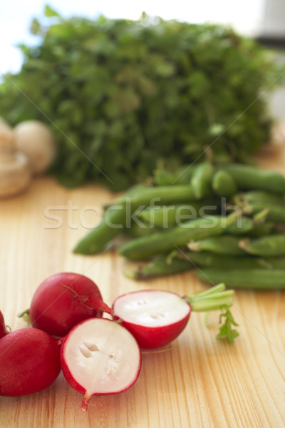 Stock photo: Fresh vegetables on cutting board.Fresh vegetables on cutting bo