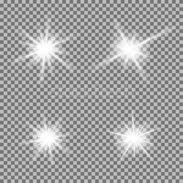 Vector Set Of Glowing Light Bursts With Sparkles On