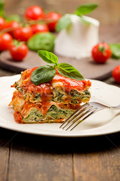 Stock photo: Homemade Lasegne with Ricotta Cheese and Spinach