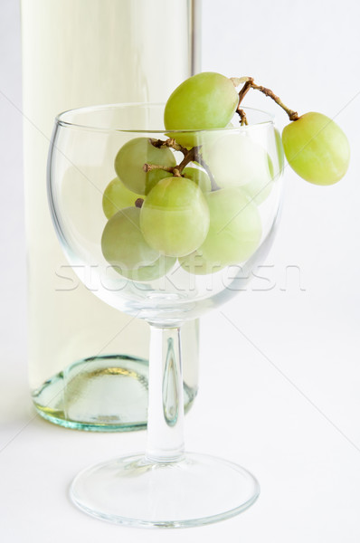 Stock photo: White Wine Grapes in Glass