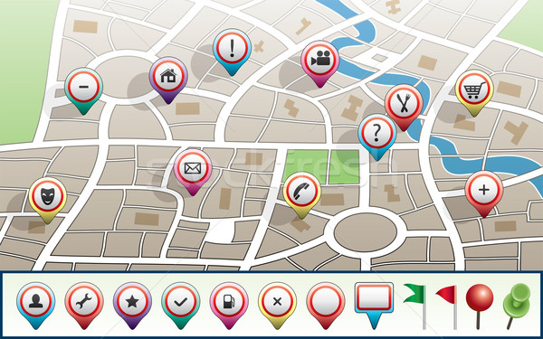 Stock photo: vector city map with GPS icons