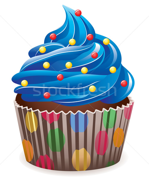 Stock photo: vector blue cupcake