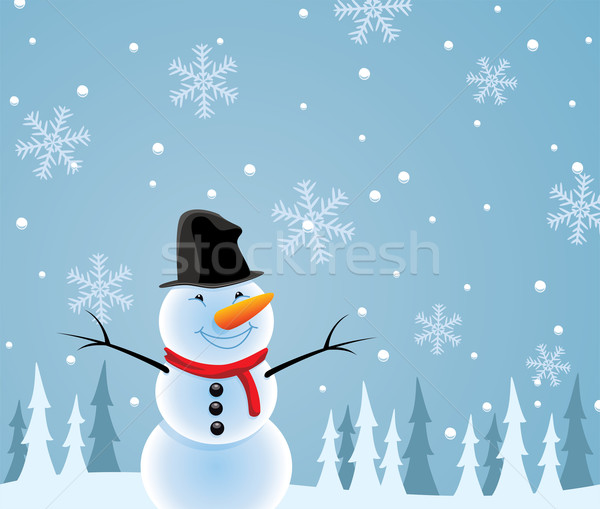 Stock photo: vector happy snowman