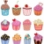 Foto stock: vector set of colorful cupcakes