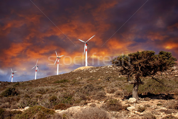 Stock photo: Wind turbines in movement
