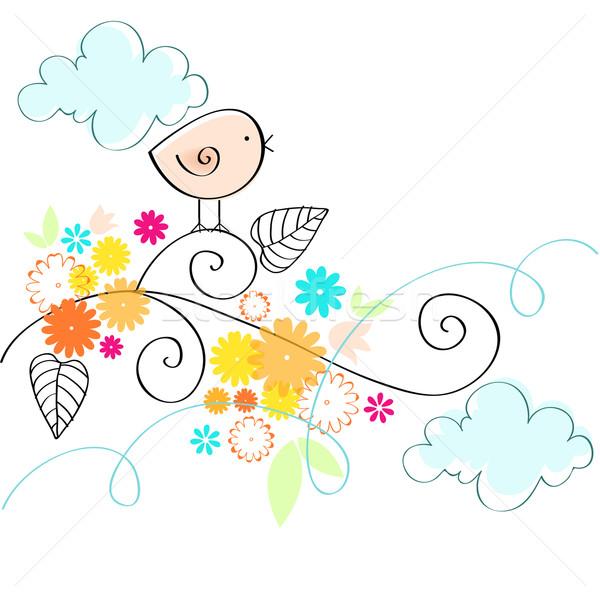 Stock vector illustration vector cute spring bird illustration