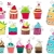 Foto stock: set of cute retro cupcakes