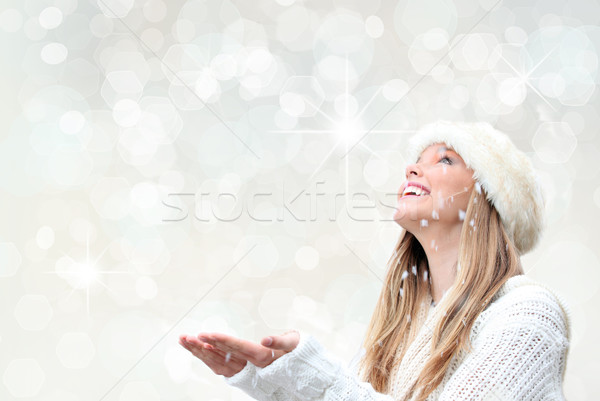 Stock photo: christmas holiday woman with snow