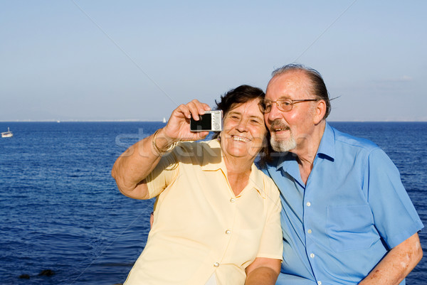Stock photo: happy senior couple on summer vacation