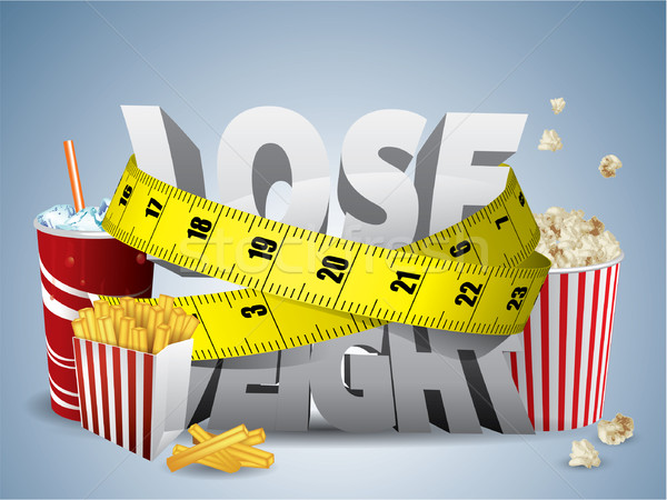 Stock photo: Lose weight text with measure tape and junk food