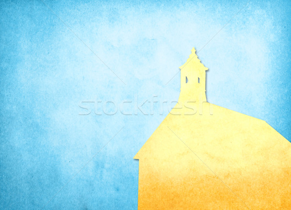 Stock photo: Grunge image of church from old paper with copy space