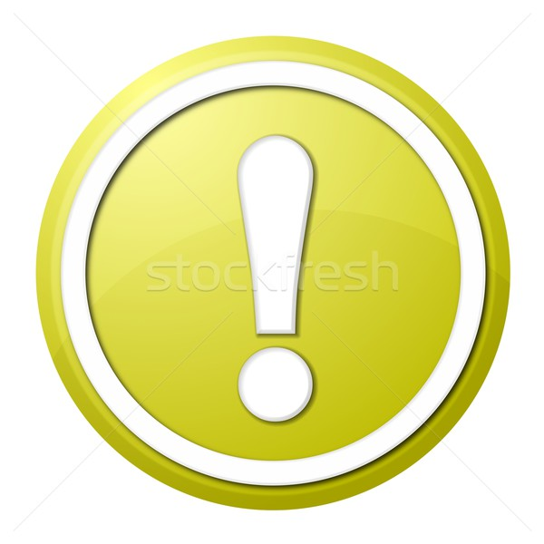 Stock photo: yellow exclamation point button