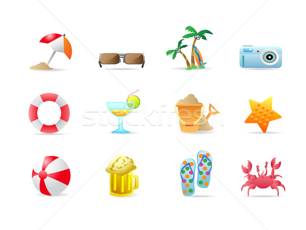 Stock photo: beach icons and products
