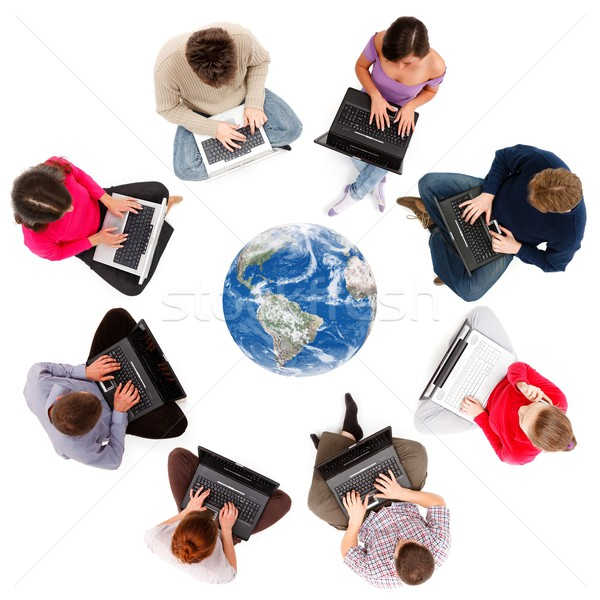 Stock photo: Social network members seen from above