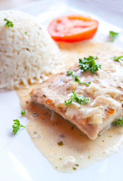 Stock photo: grilled salmon and rice