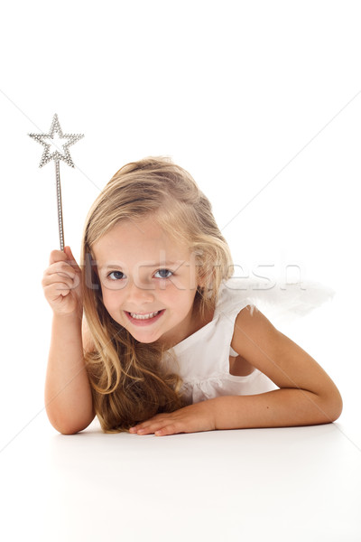 Stock photo: Little angel fairy with magic wand
