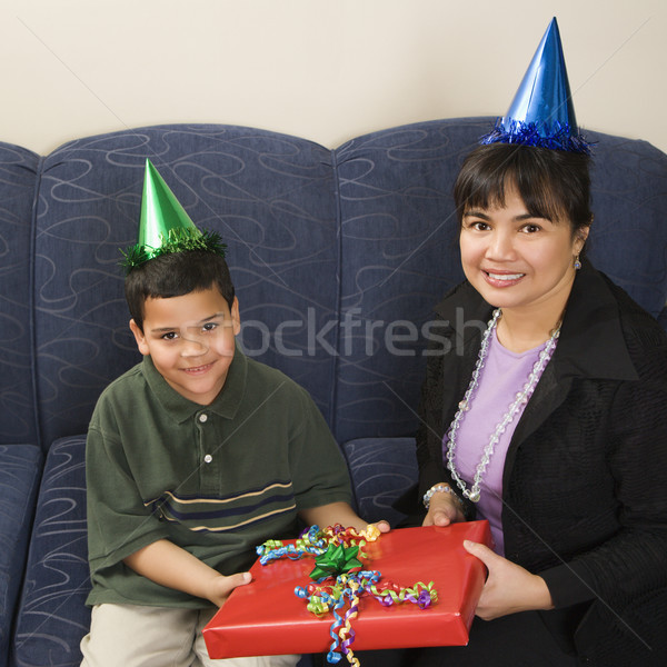 Stock photo: Family celebrating birthday.