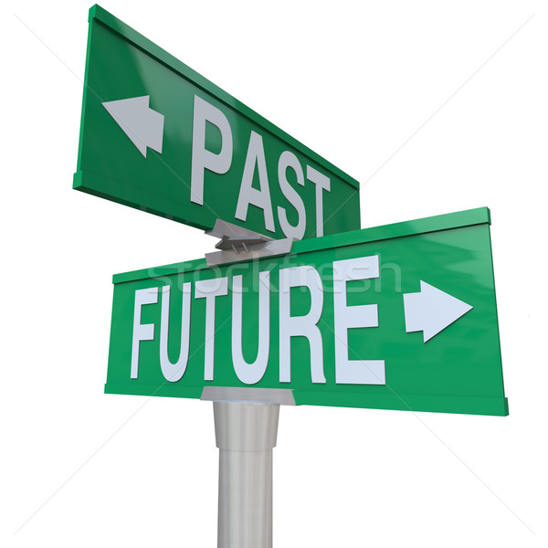 Stock photo: Past and Future - Two-Way Street Sign