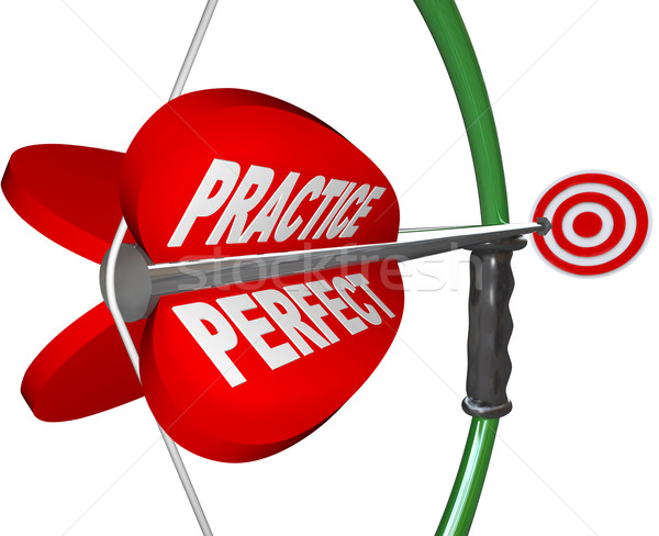 Stock photo: Practice Makes Perfect - Bow and Arrow Aimed at Bulls Eye
