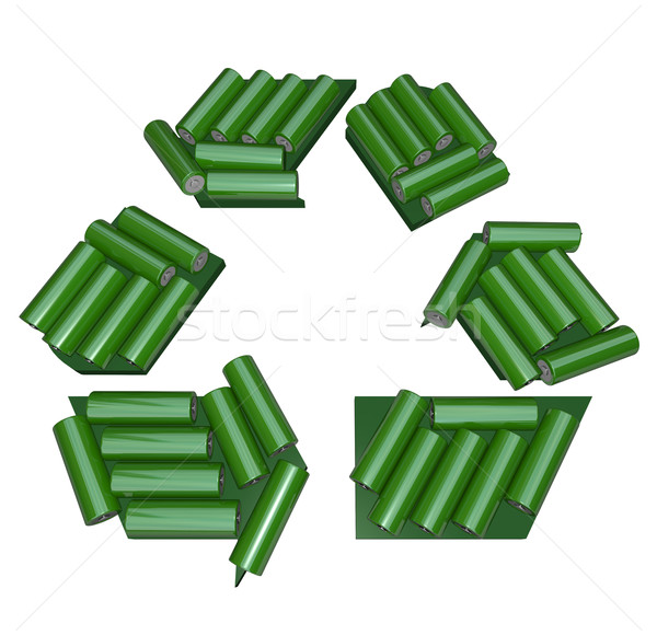 Stock photo: Recycling Symbol Made of Batteries
