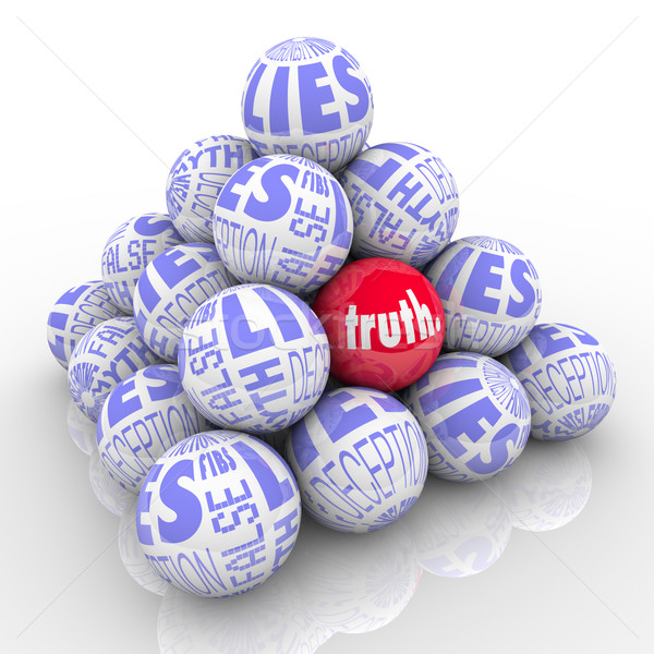 The Truth Hidden Among Lies Pyramid of Stacked Balls stock photo ...
