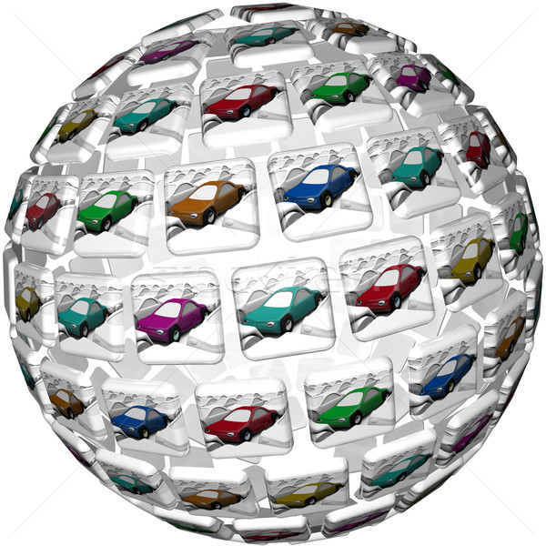 Stock photo: Many Different Illustrated Cars Choices Variety Selection