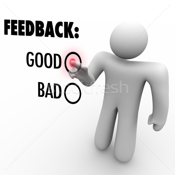 Stock photo: Giving Opinion Feedback Answering Question Touch Screen