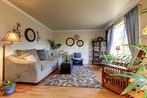 Cozy Living Room Design With Nice Decor Large Beige Sofa Stock Photo
