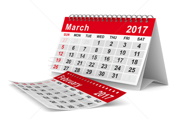 Stock photo: 2017 year calendar. March. Isolated 3D image