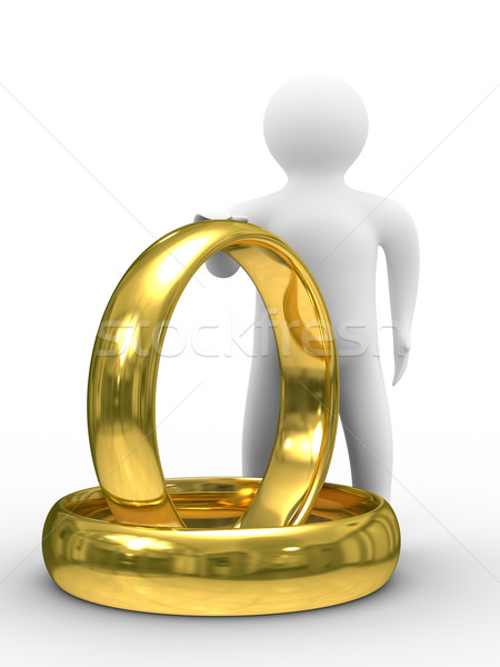 Stock photo Two gold wedding rings and man Isolated 3D image