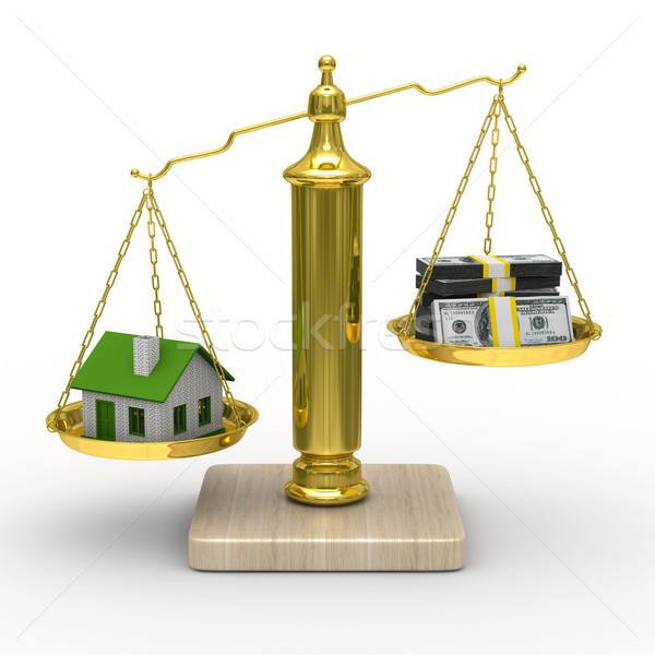 Stock photo: house and cashes on scales. Isolated 3D image