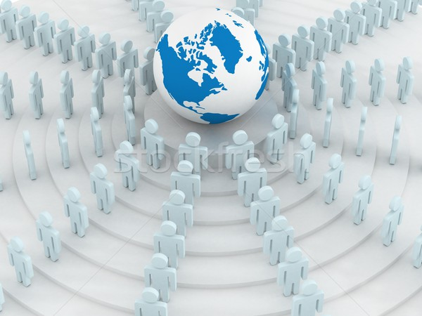 Stock photo: Group of people standing round globe. 3D image.