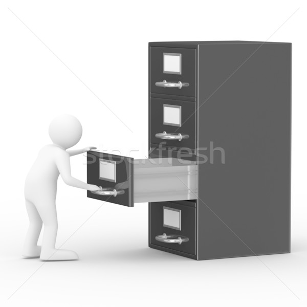 Stock photo: Filing cabinet on white. Isolated 3D image