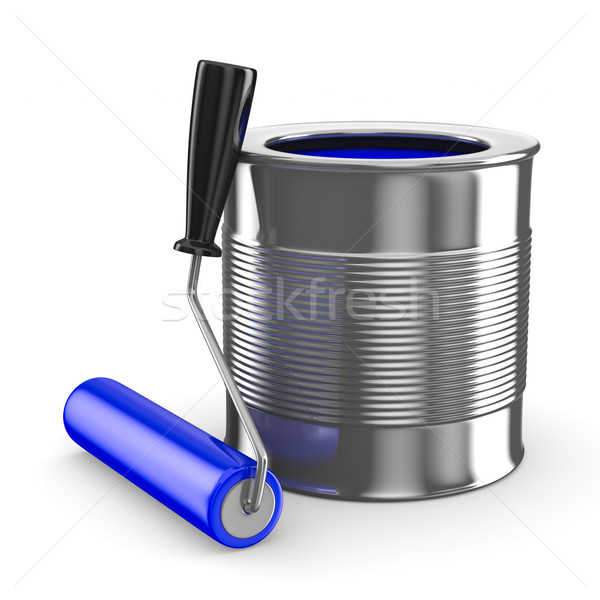 Stock photo: roller brush on white. Isolated 3D image