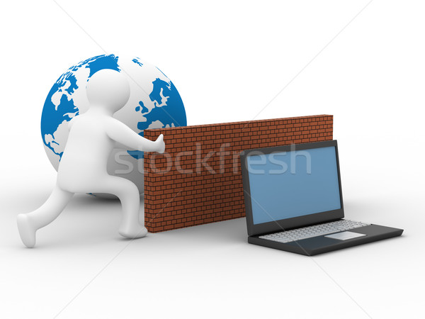 Stock photo: Protected global network the Internet. 3D image.