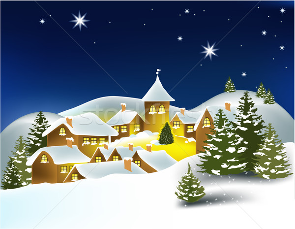 Stock photo: Winter landscape with little town