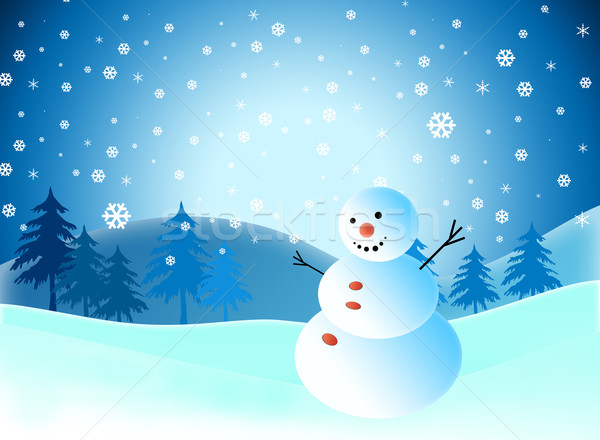 1977794 Cartoon snowman on snow blue background by jakgree_inkliang