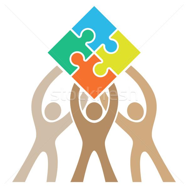 Teamwork Puzzle Logo vector illustration © Jeff Hobrath