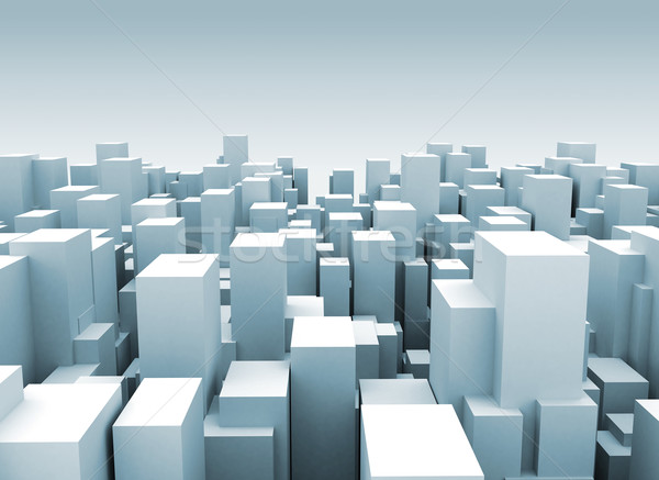 Stock photo: Abstract city made of cubes