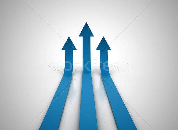 Stock photo: Three red arrows going up - success concept illustration