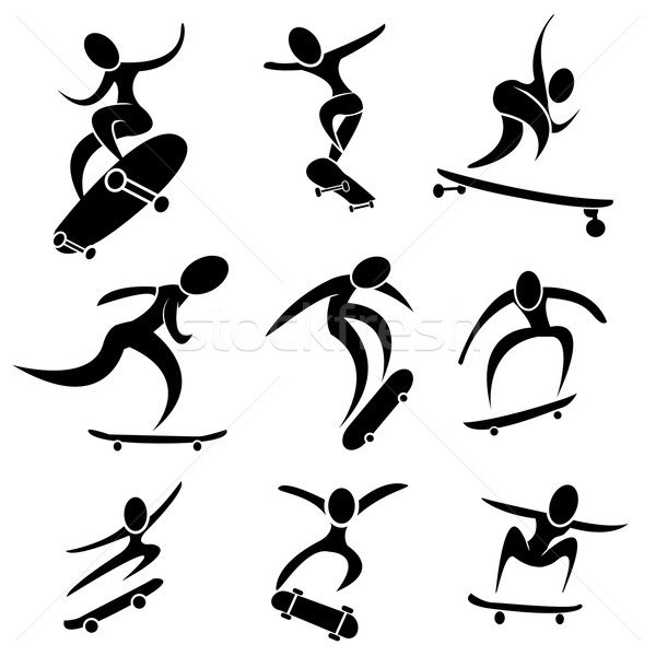 Set of skateboard icon in action