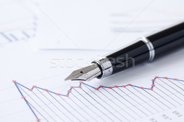 Stock photo: pen and business graph
