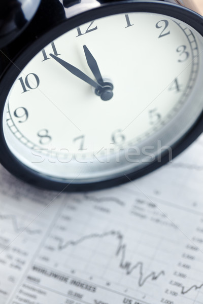 Stock photo: alarm clock on financial graph.last moment